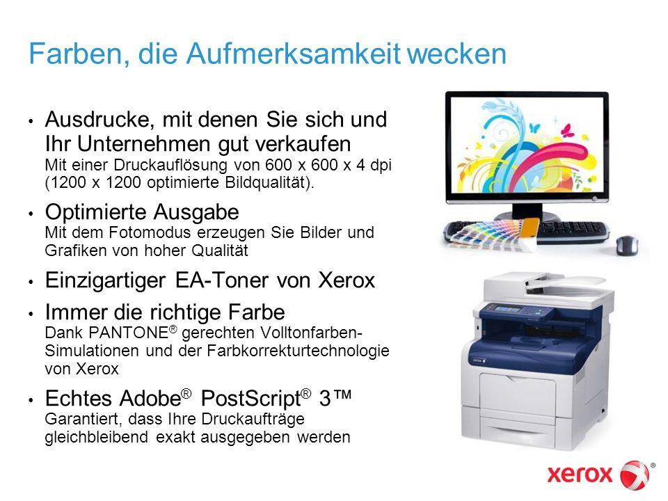 Farben, die Aufmerksamkeit wecken Ausdrucke, mit denen Sie sich und Ihr Unternehmen gut verkaufen Mit einer Druckauflösung von 600 x 600 x 4 dpi (1200