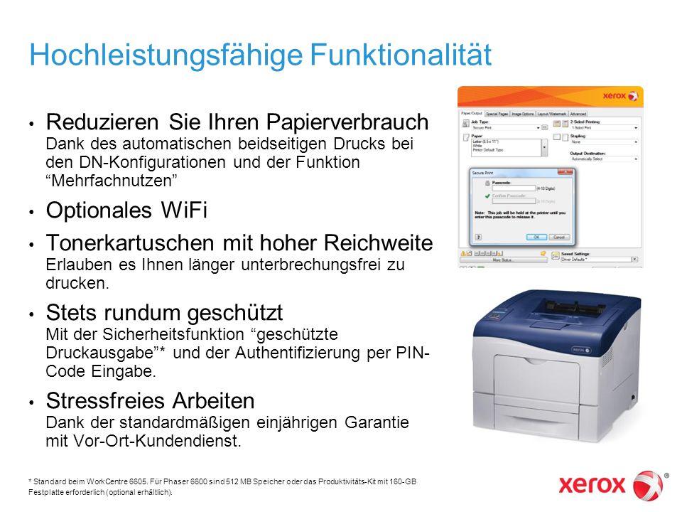 Hochleistungsfähige Funktionalität Reduzieren Sie Ihren Papierverbrauch Dank des automatischen beidseitigen Drucks bei den DN-Konfigurationen und der