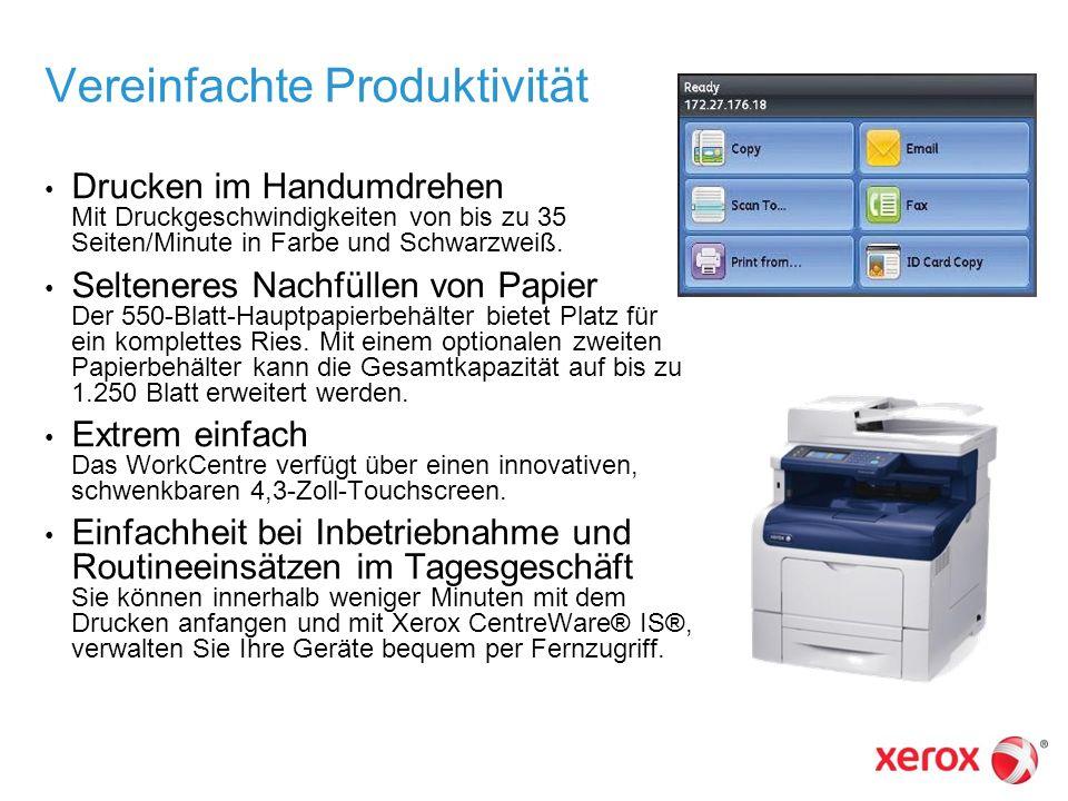 Vereinfachte Produktivität Drucken im Handumdrehen Mit Druckgeschwindigkeiten von bis zu 35 Seiten/Minute in Farbe und Schwarzweiß. Selteneres Nachfül