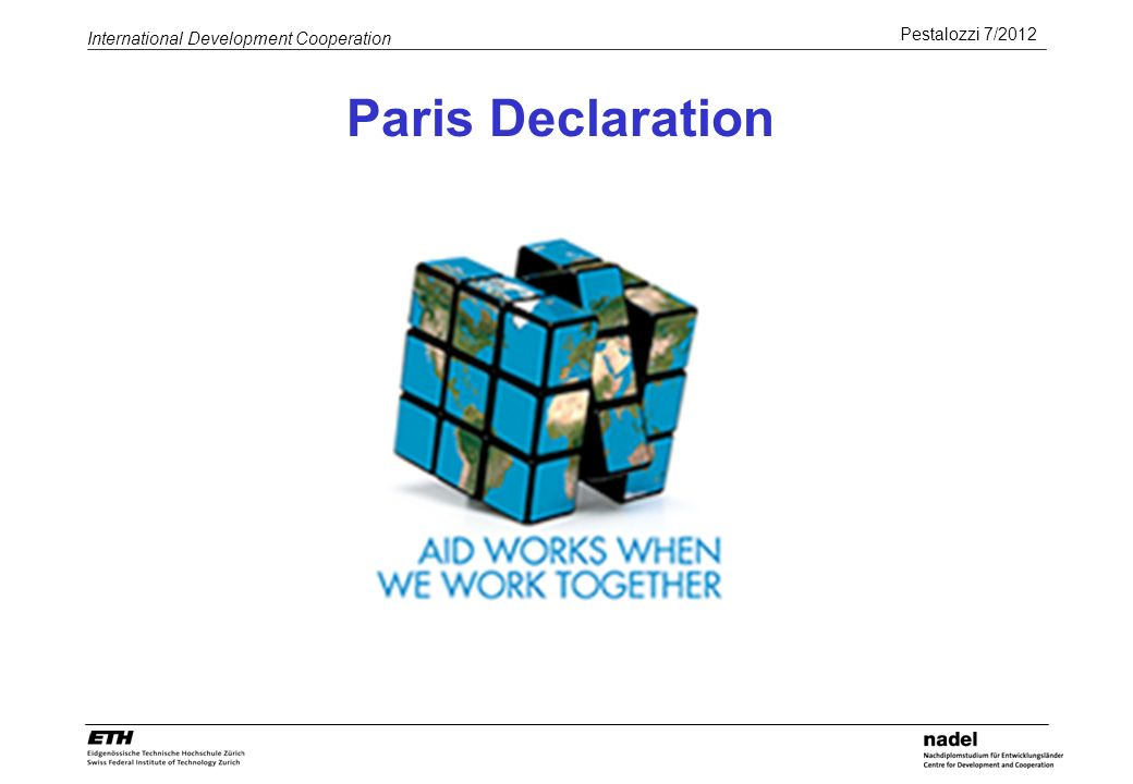 Pestalozzi 7/2012 International Development Cooperation Paris Declaration