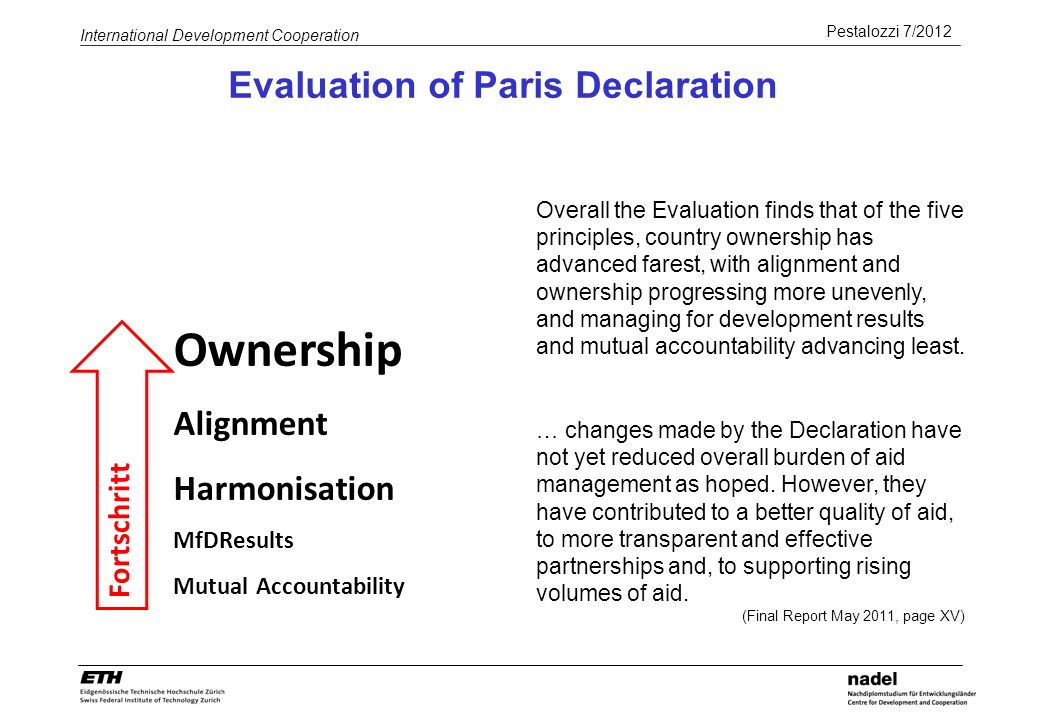 Pestalozzi 7/2012 International Development Cooperation Evaluation of Paris Declaration Ownership Alignment Harmonisation MfDResults Mutual Accountability Fortschritt Overall the Evaluation finds that of the five principles, country ownership has advanced farest, with alignment and ownership progressing more unevenly, and managing for development results and mutual accountability advancing least.