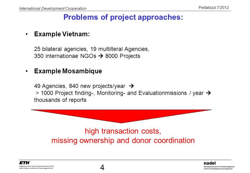 Pestalozzi 7/2012 International Development Cooperation 4 Example Vietnam: 25 bilateral agencies, 19 multilteral Agencies, 350 internationae NGOs 8000