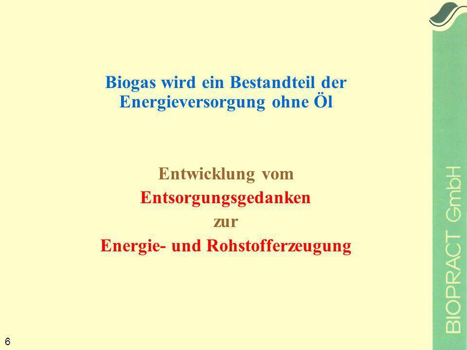 6 Biogas wird ein Bestandteil der Energieversorgung ohne Öl Entwicklung vom Entsorgungsgedanken zur Energie- und Rohstofferzeugung