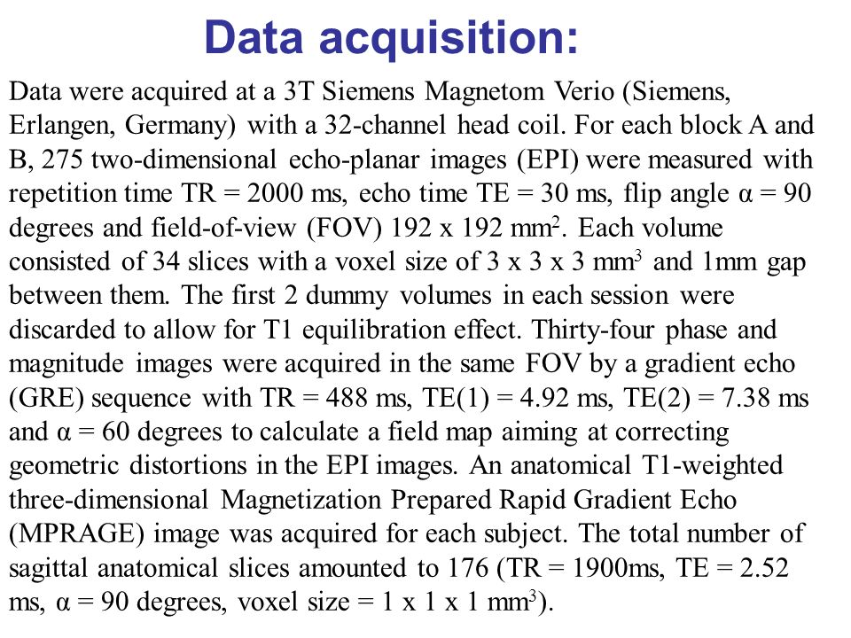 Data acquisition: Data were acquired at a 3T Siemens Magnetom Verio (Siemens, Erlangen, Germany) with a 32-channel head coil. For each block A and B,