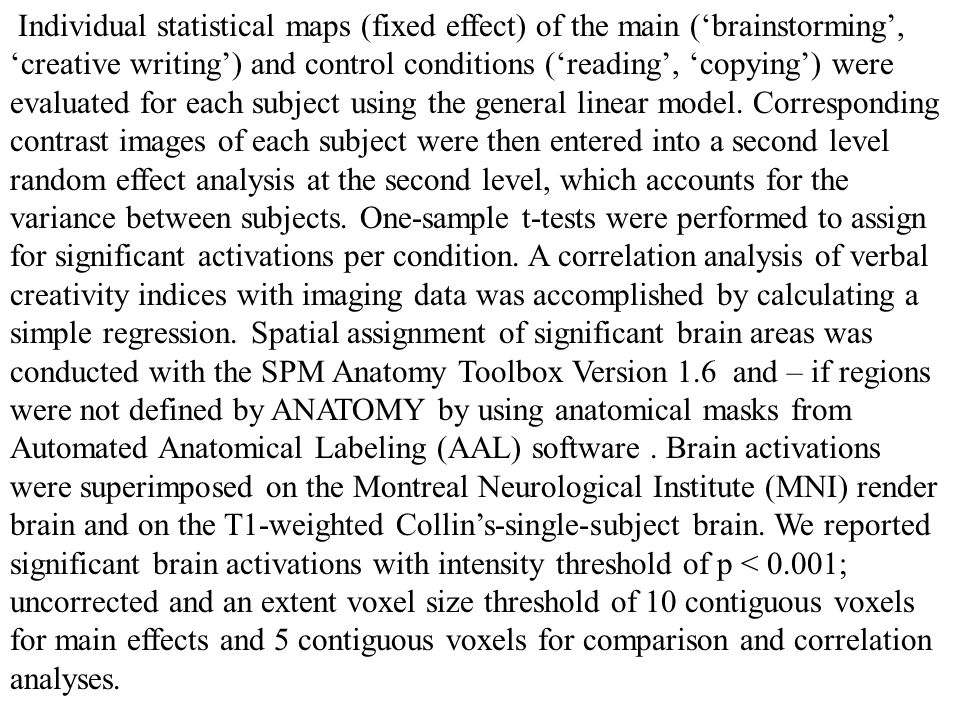 Individual statistical maps (fixed effect) of the main (brainstorming, creative writing) and control conditions (reading, copying) were evaluated for