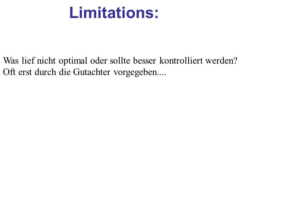 Limitations: Was lief nicht optimal oder sollte besser kontrolliert werden? Oft erst durch die Gutachter vorgegeben....