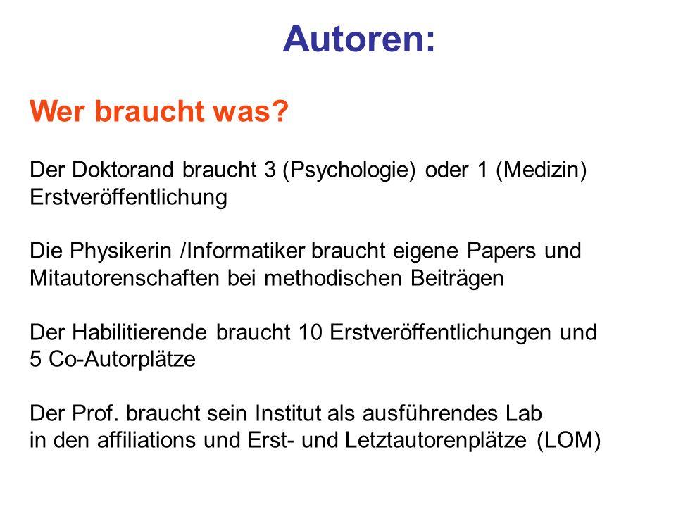 Autoren: Wer braucht was? Der Doktorand braucht 3 (Psychologie) oder 1 (Medizin) Erstveröffentlichung Die Physikerin /Informatiker braucht eigene Pape