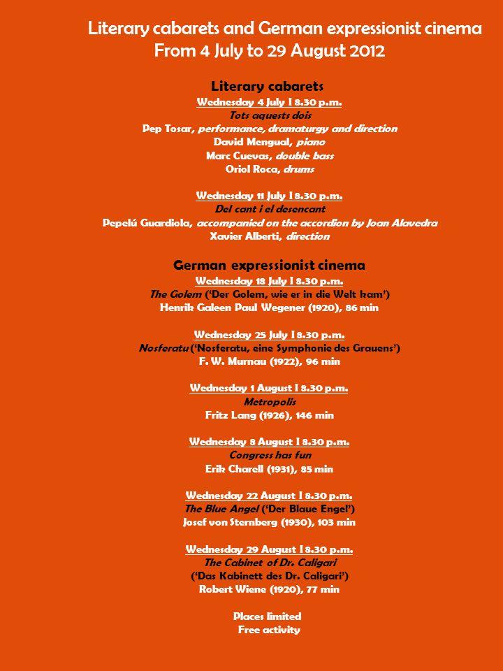 Deutscheausstellungvisiten Mittwoche: 20, 27 Juni und 4 Juli, um 11 Uhr und auch 11 Juli, um 19 Uhr Kostenlos - Bitte Plätze reservieren - 971 17 85 12