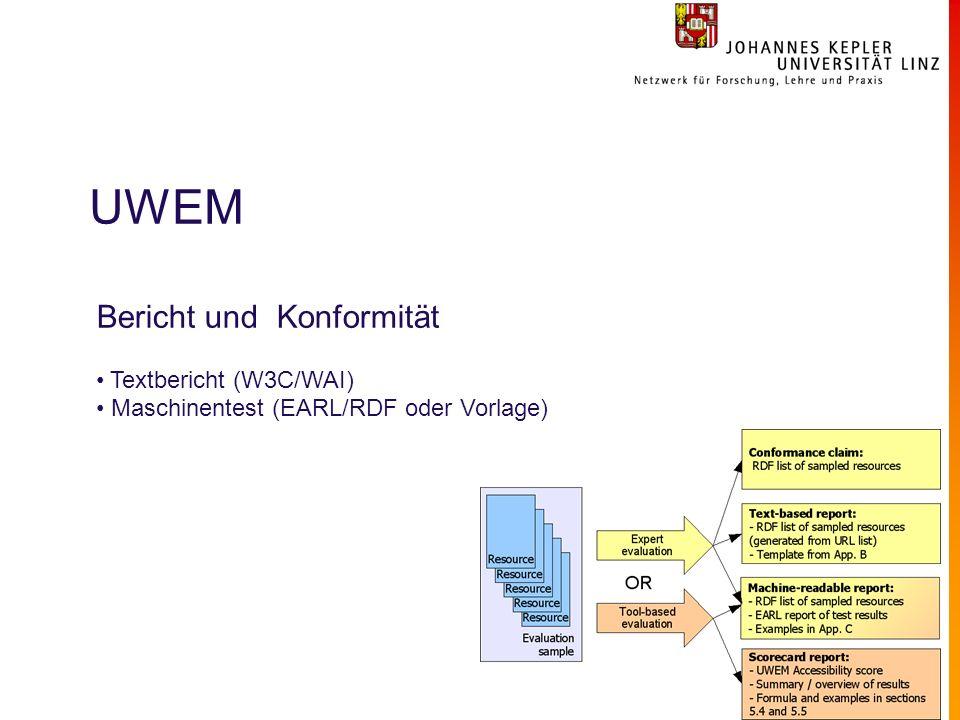 UWEM Bericht und Konformität Textbericht (W3C/WAI) Maschinentest (EARL/RDF oder Vorlage)