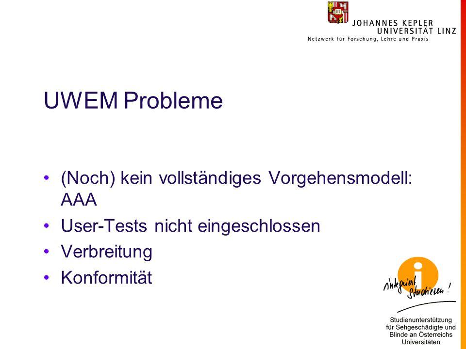 UWEM Probleme (Noch) kein vollständiges Vorgehensmodell: AAA User-Tests nicht eingeschlossen Verbreitung Konformität