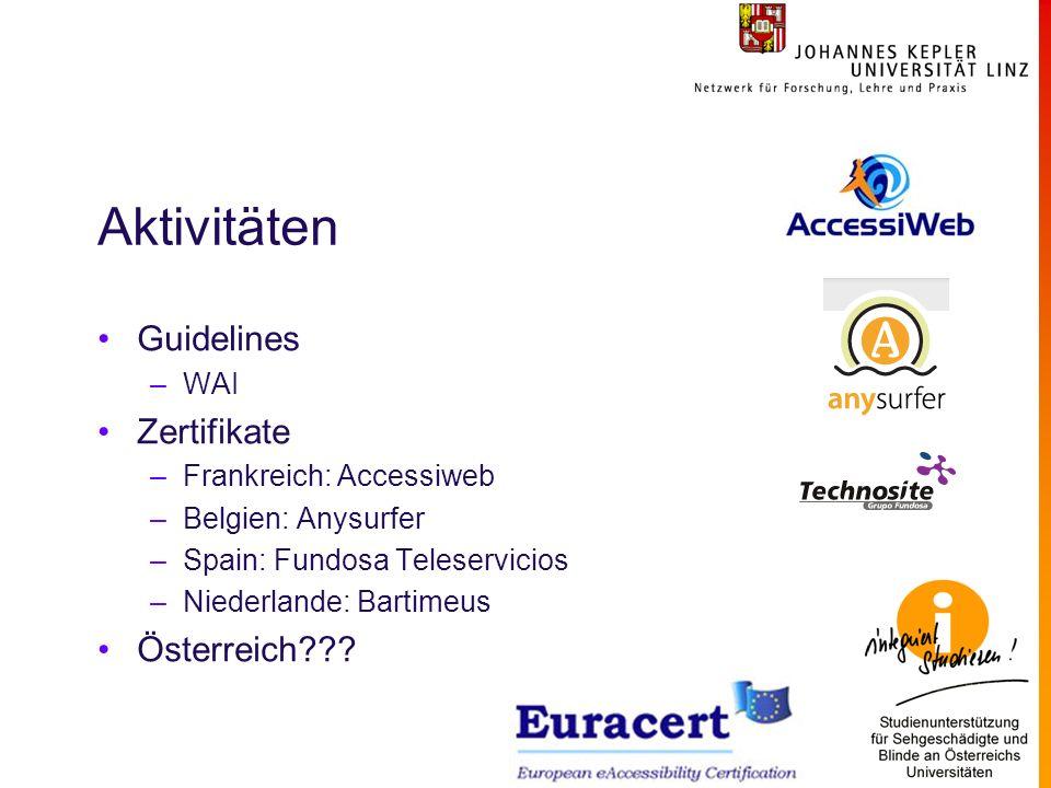 Aktivitäten Guidelines –WAI Zertifikate –Frankreich: Accessiweb –Belgien: Anysurfer –Spain: Fundosa Teleservicios –Niederlande: Bartimeus Österreich??