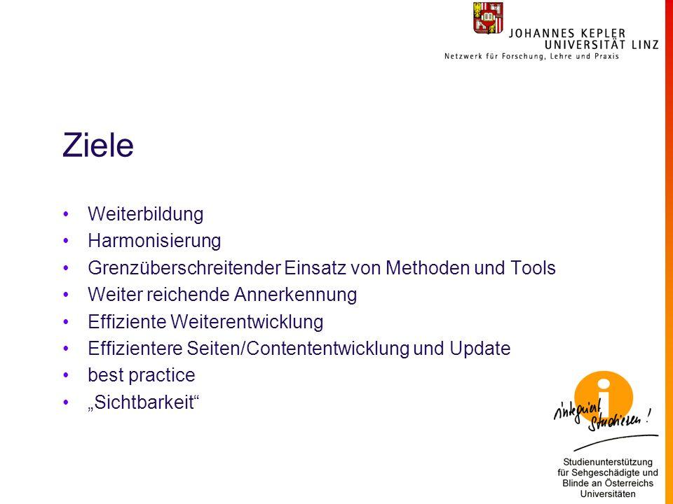 Ziele Weiterbildung Harmonisierung Grenzüberschreitender Einsatz von Methoden und Tools Weiter reichende Annerkennung Effiziente Weiterentwicklung Effizientere Seiten/Contententwicklung und Update best practice Sichtbarkeit