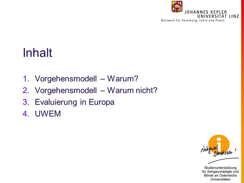 Inhalt 1.Vorgehensmodell – Warum 2.Vorgehensmodell – Warum nicht 3.Evaluierung in Europa 4.UWEM