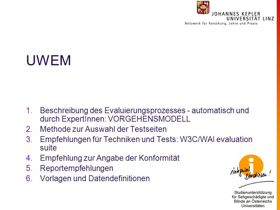 UWEM 1.Beschreibung des Evaluierungsprozesses - automatisch und durch ExpertInnen: VORGEHENSMODELL 2.Methode zur Auswahl der Testseiten 3.Empfehlungen für Techniken und Tests: W3C/WAI evaluation suite 4.Empfehlung zur Angabe der Konformität 5.Reportempfehlungen 6.Vorlagen und Datendefinitionen