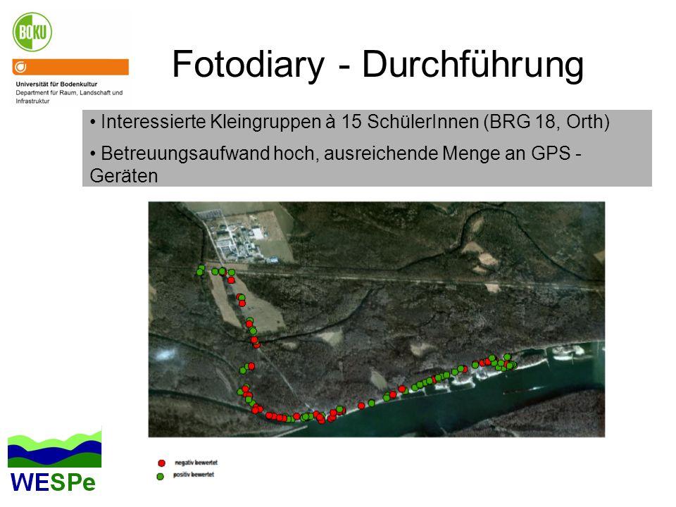 Fotodiary - Durchführung Interessierte Kleingruppen à 15 SchülerInnen (BRG 18, Orth) Betreuungsaufwand hoch, ausreichende Menge an GPS - Geräten