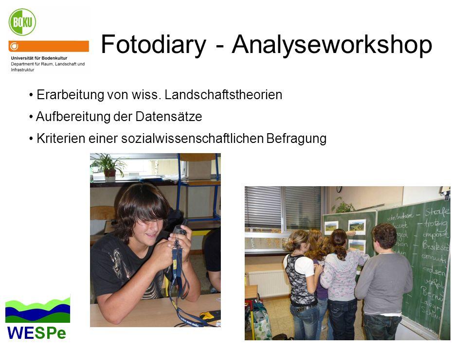 Fotodiary - Analyseworkshop Erarbeitung von wiss. Landschaftstheorien Aufbereitung der Datensätze Kriterien einer sozialwissenschaftlichen Befragung
