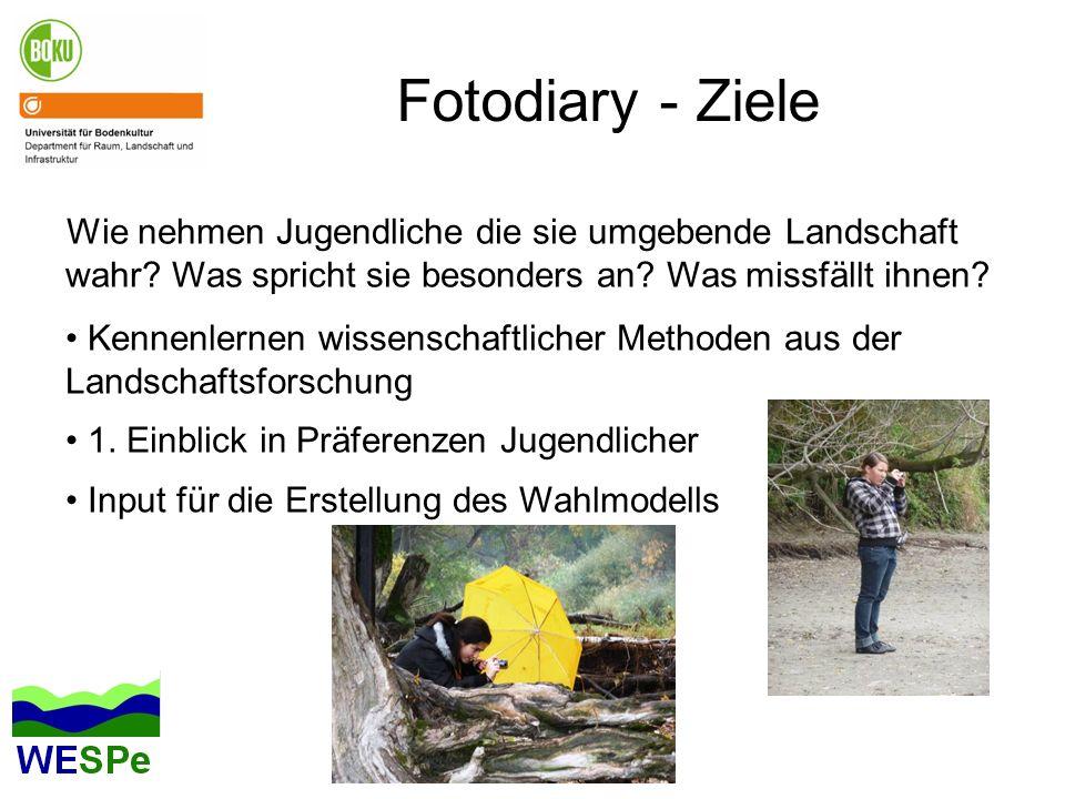 Fotodiary - Ziele Wie nehmen Jugendliche die sie umgebende Landschaft wahr? Was spricht sie besonders an? Was missfällt ihnen? Kennenlernen wissenscha