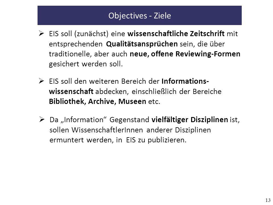 13 Objectives - Ziele EIS soll (zunächst) eine wissenschaftliche Zeitschrift mit entsprechenden Qualitätsansprüchen sein, die über traditionelle, aber auch neue, offene Reviewing-Formen gesichert werden soll.
