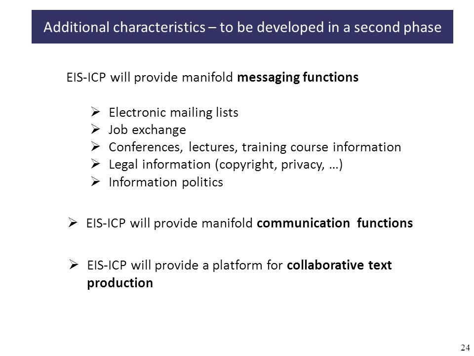 24 EIS-ICP will provide manifold messaging functions Electronic mailing lists Job exchange Conferences, lectures, training course information Legal information (copyright, privacy, …) Information politics EIS-ICP will provide manifold communication functions EIS-ICP will provide a platform for collaborative text production Additional characteristics – to be developed in a second phase