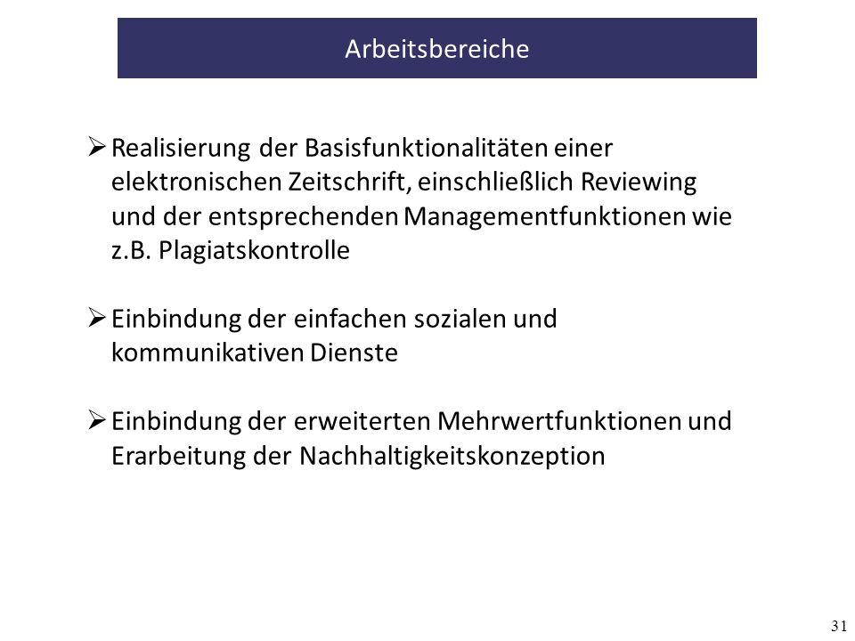 31 Arbeitsbereiche Realisierung der Basisfunktionalitäten einer elektronischen Zeitschrift, einschließlich Reviewing und der entsprechenden Managementfunktionen wie z.B.
