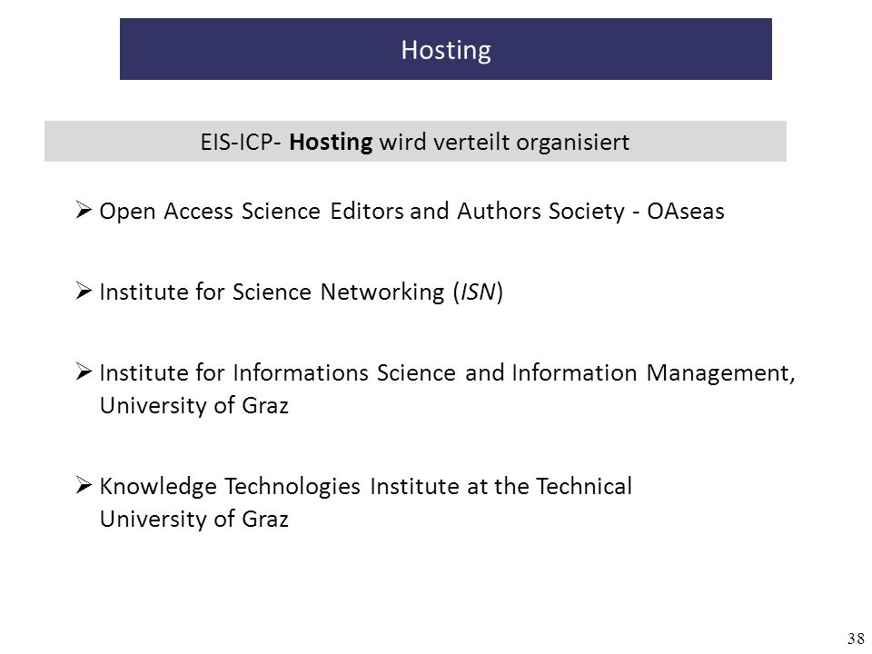 38 Hosting EIS-ICP- Hosting wird verteilt organisiert Knowledge Technologies Institute at the Technical University of Graz Institute for Informations Science and Information Management, University of Graz Institute for Science Networking (ISN) Open Access Science Editors and Authors Society - OAseas