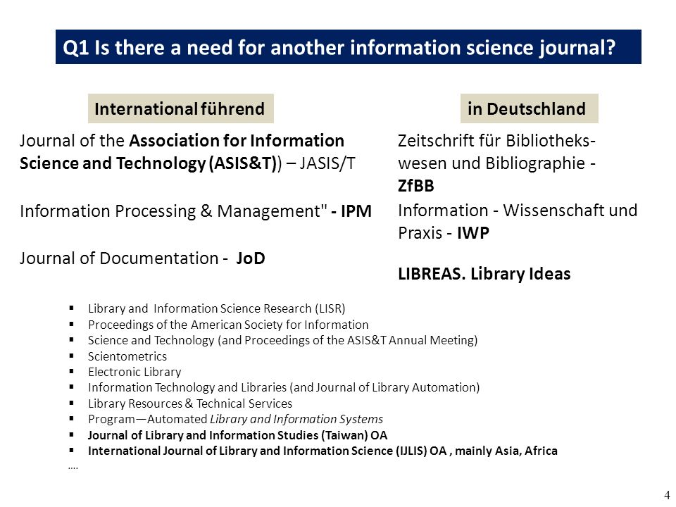 5 Q1 Is there a need for another information science journal.