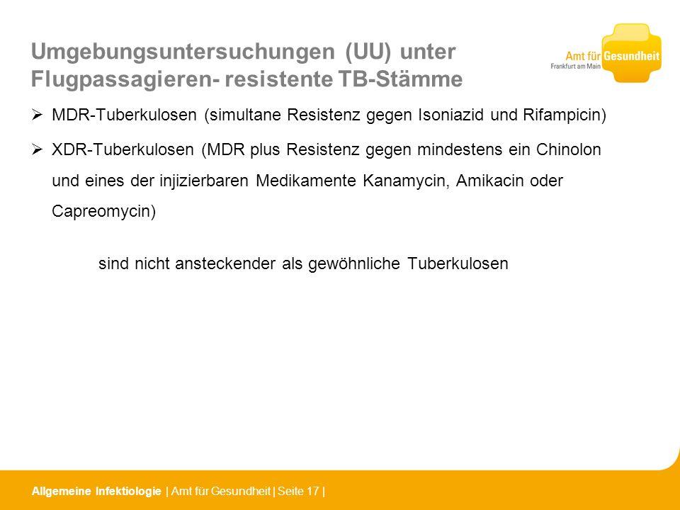 Allgemeine Infektiologie   Amt für Gesundheit   Seite 17   Umgebungsuntersuchungen (UU) unter Flugpassagieren- resistente TB-Stämme MDR-Tuberkulosen (