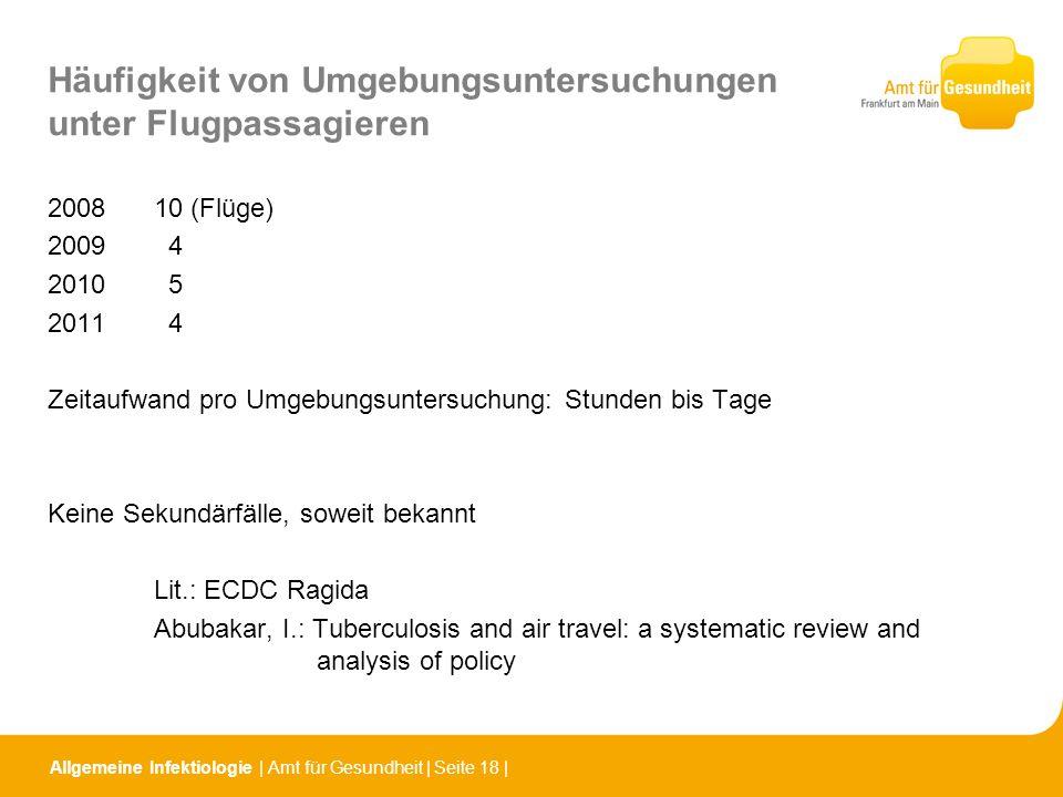 Allgemeine Infektiologie   Amt für Gesundheit   Seite 18   Häufigkeit von Umgebungsuntersuchungen unter Flugpassagieren 200810 (Flüge) 2009 4 2010 5 2