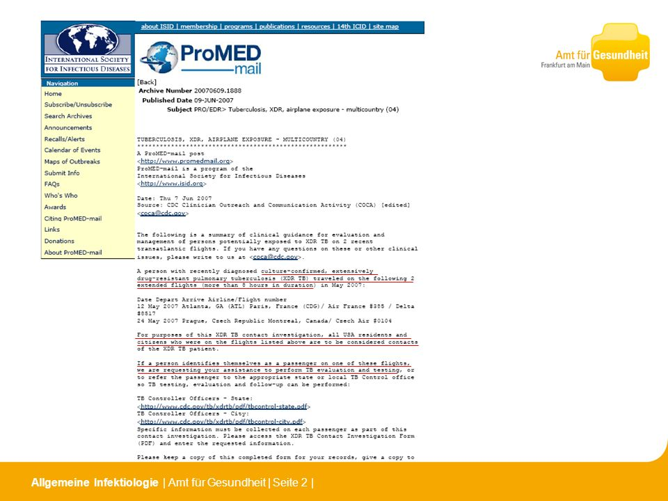 Allgemeine Infektiologie | Amt für Gesundheit | Seite 13 | Empfehlungen der ECDC (European Centre for Disease Prevention and Control) 2009