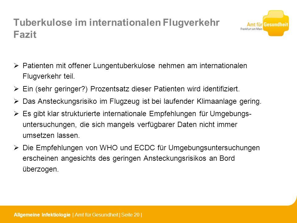 Tuberkulose im internationalen Flugverkehr Fazit Patienten mit offener Lungentuberkulose nehmen am internationalen Flugverkehr teil. Ein (sehr geringe