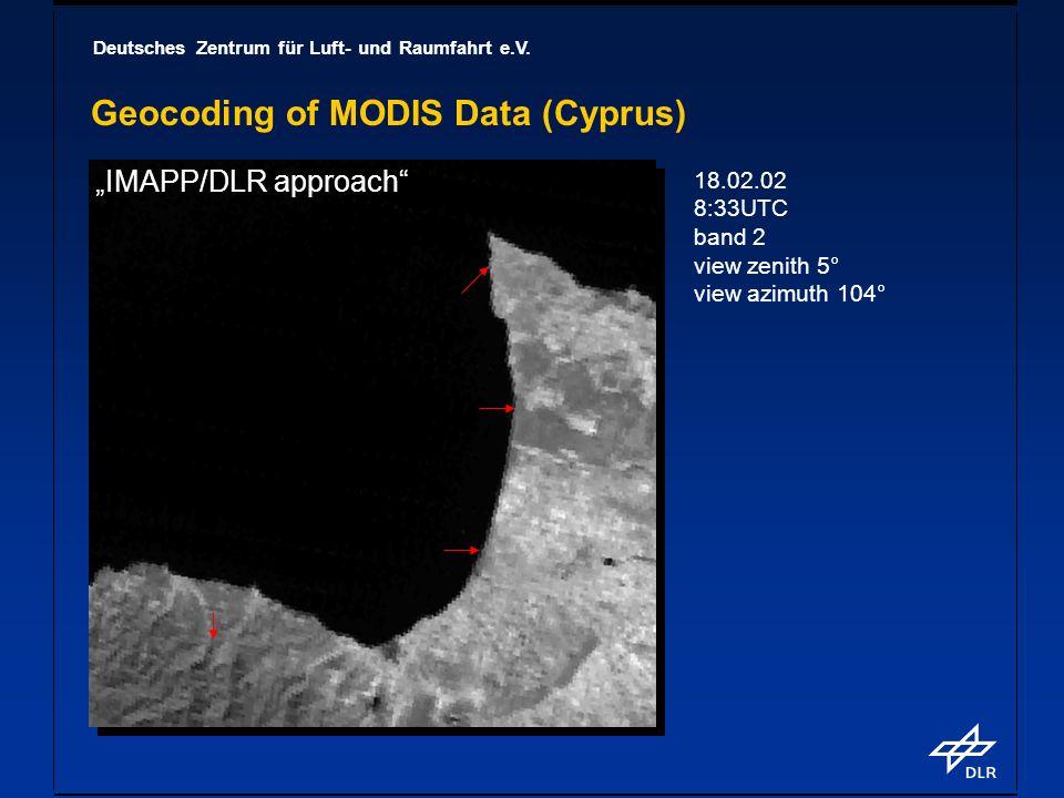 Deutsches Zentrum für Luft- und Raumfahrt e.V. Geocoding of MODIS Data (Cyprus) 18.02.02 8:33UTC band 2 view zenith 5° view azimuth 104° IMAPP/DLR app