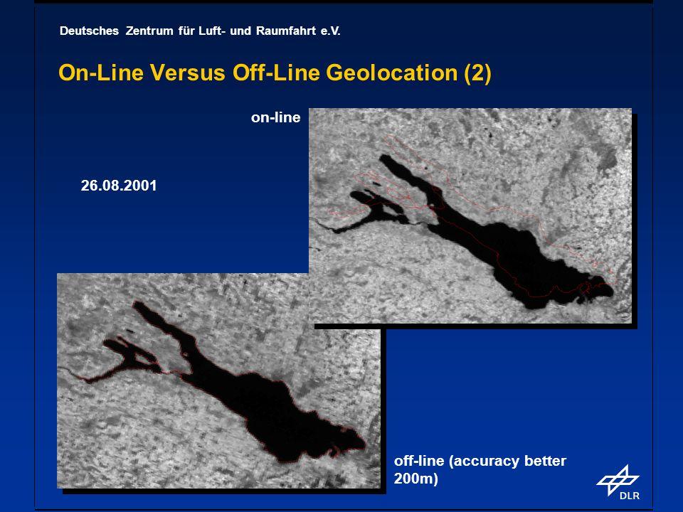 Deutsches Zentrum für Luft- und Raumfahrt e.V. On-Line Versus Off-Line Geolocation (2) on-line off-line (accuracy better 200m) 26.08.2001