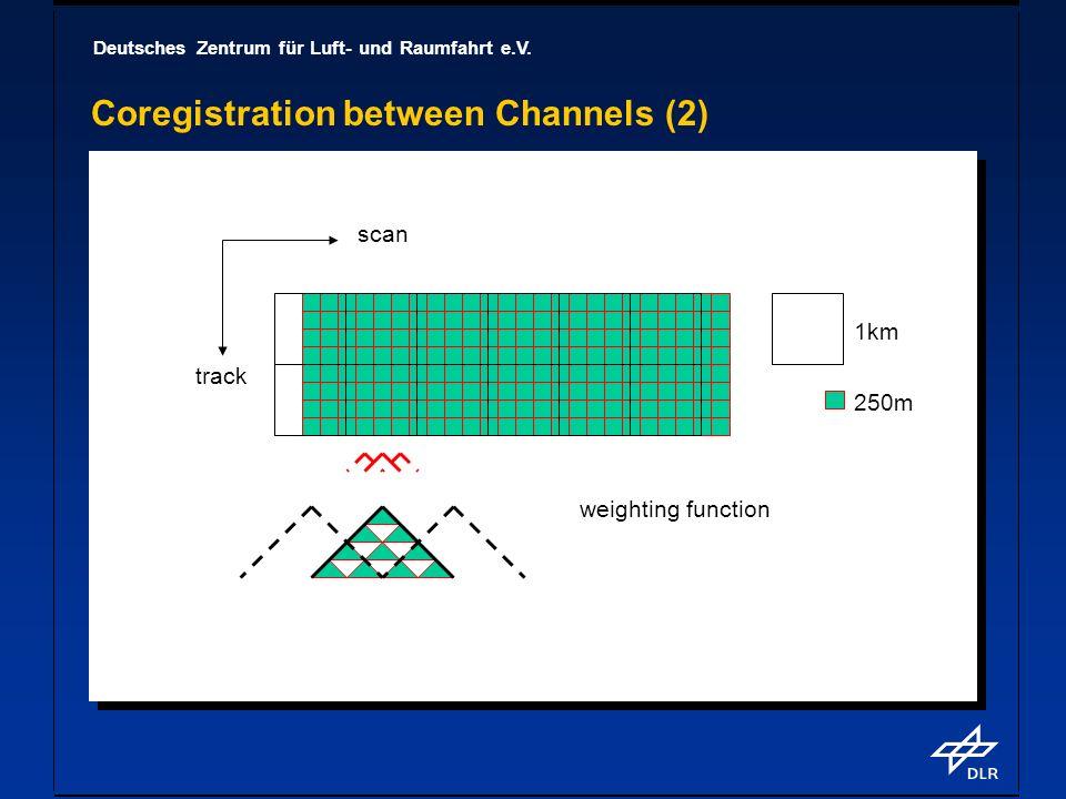Deutsches Zentrum für Luft- und Raumfahrt e.V. Coregistration between Channels (2) 1km 250m weighting function scan track