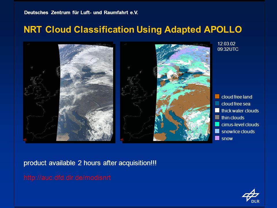 Deutsches Zentrum für Luft- und Raumfahrt e.V. NRT Cloud Classification Using Adapted APOLLO cloud free land cloud free sea thick water clouds thin cl