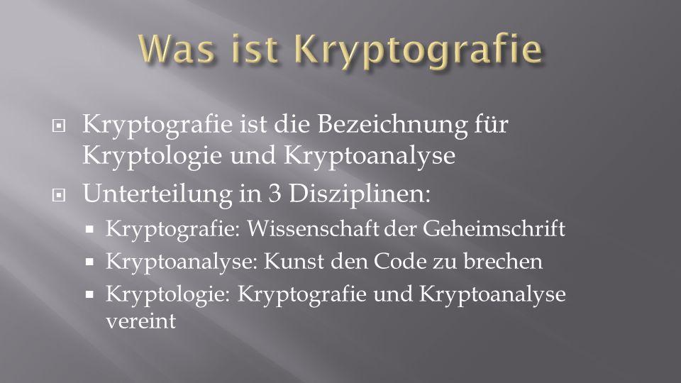 Kryptografie ist die Bezeichnung für Kryptologie und Kryptoanalyse Unterteilung in 3 Disziplinen: Kryptografie: Wissenschaft der Geheimschrift Kryptoa