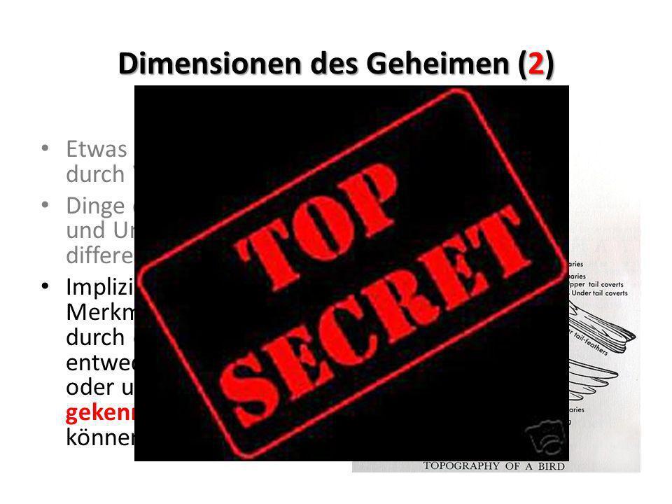 Dimensionen des Geheimen (2) Etwas beiseite stellen durch Verstecken Dinge durch Sichtbarkeit und Unsichtbarkeit zu differenzieren Impliziert die Fähi