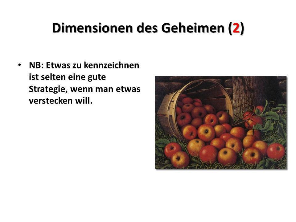 Dimensionen des Geheimen (2) NB: Etwas zu kennzeichnen ist selten eine gute Strategie, wenn man etwas verstecken will.