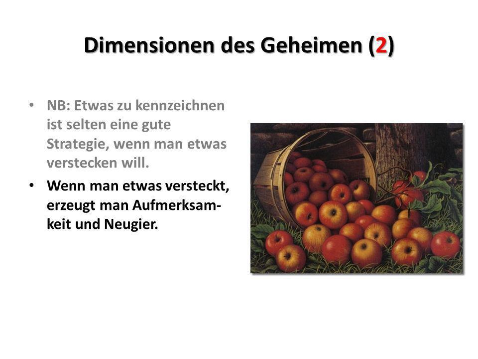 Dimensionen des Geheimen (2) NB: Etwas zu kennzeichnen ist selten eine gute Strategie, wenn man etwas verstecken will. Wenn man etwas versteckt, erzeu