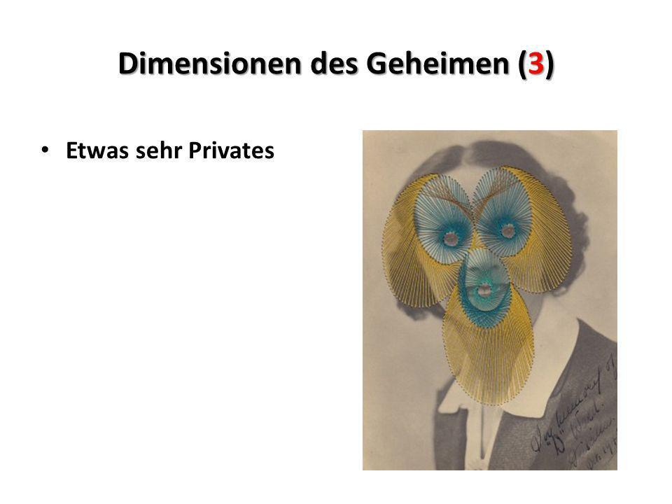 Dimensionen des Geheimen (3) Etwas sehr Privates