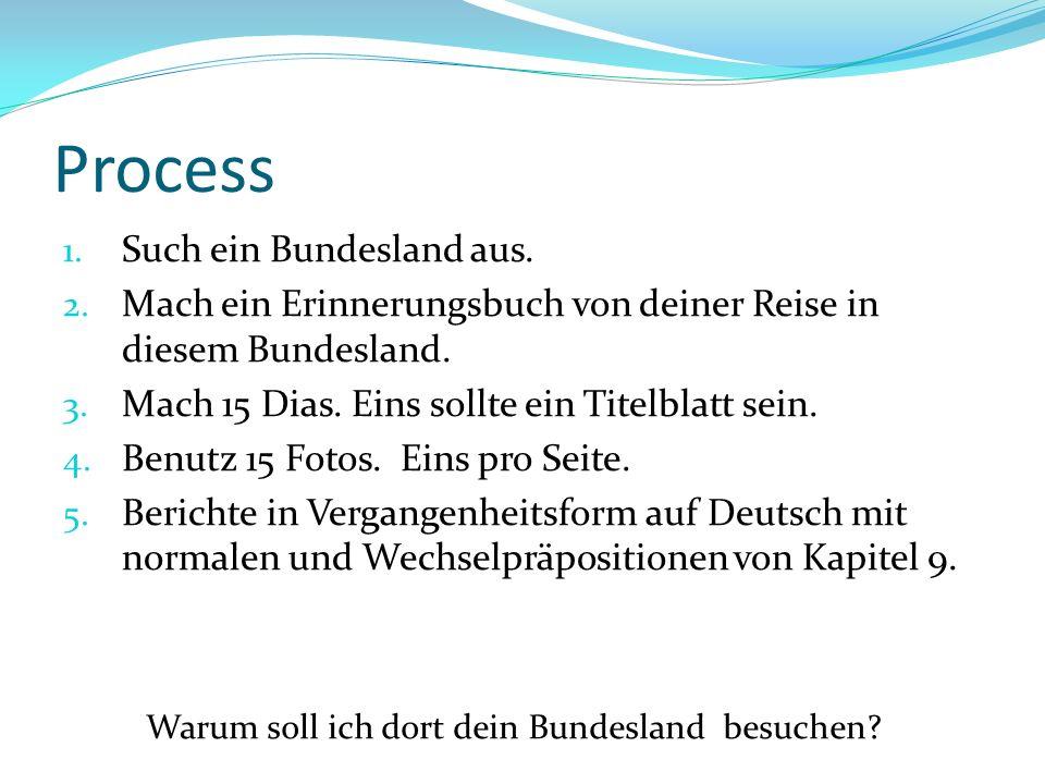 Process 1. Such ein Bundesland aus. 2. Mach ein Erinnerungsbuch von deiner Reise in diesem Bundesland. 3. Mach 15 Dias. Eins sollte ein Titelblatt sei