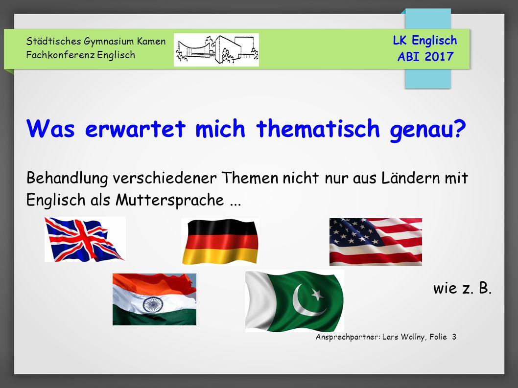 Städtisches Gymnasium Kamen Fachkonferenz Englisch Was erwartet mich thematisch genau.