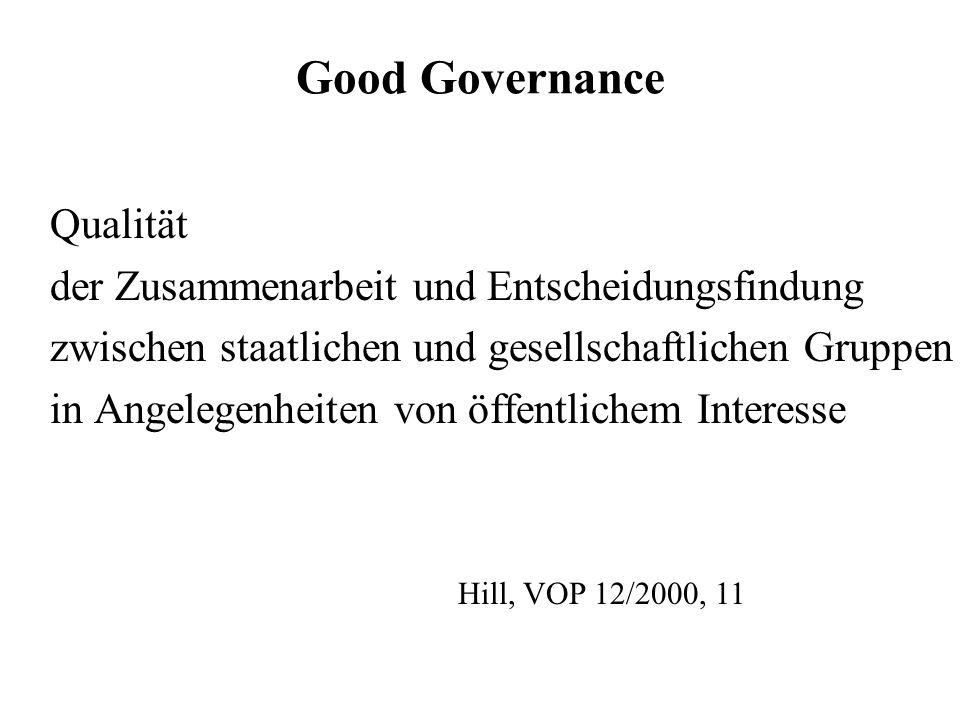 Good Governance Qualität der Zusammenarbeit und Entscheidungsfindung zwischen staatlichen und gesellschaftlichen Gruppen in Angelegenheiten von öffent