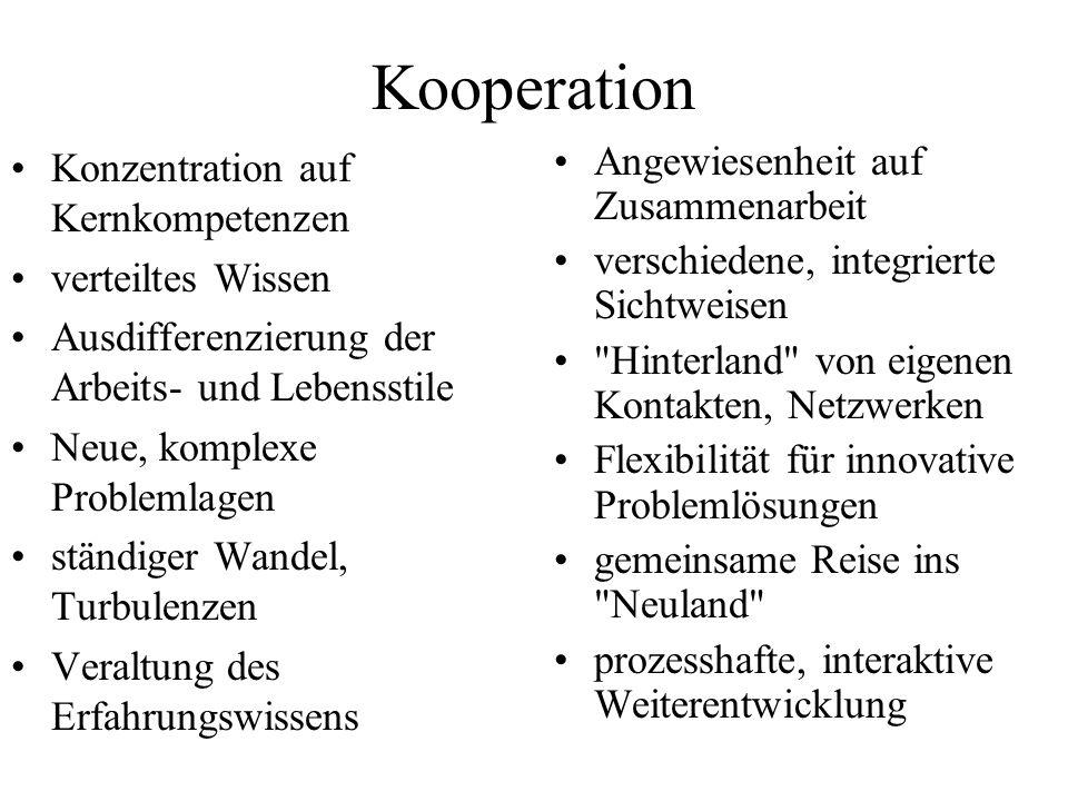 Kooperation Konzentration auf Kernkompetenzen verteiltes Wissen Ausdifferenzierung der Arbeits- und Lebensstile Neue, komplexe Problemlagen ständiger