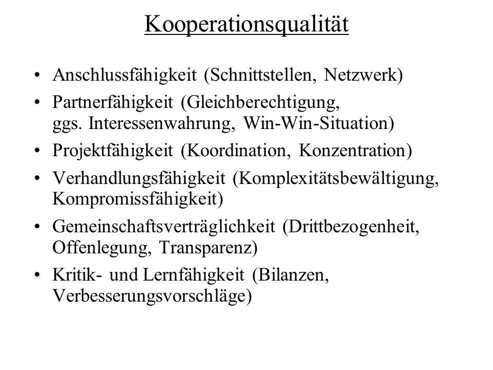 Kooperationsqualität Anschlussfähigkeit (Schnittstellen, Netzwerk) Partnerfähigkeit (Gleichberechtigung, ggs. Interessenwahrung, Win-Win-Situation) Pr
