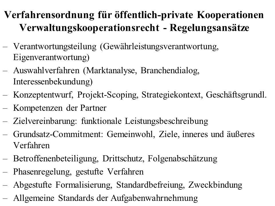 Verfahrensordnung für öffentlich-private Kooperationen Verwaltungskooperationsrecht - Regelungsansätze –Verantwortungsteilung (Gewährleistungsverantwo