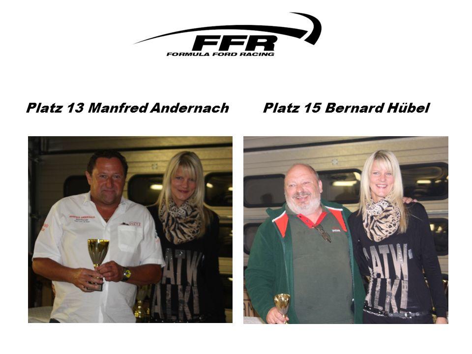 Platz 13 Manfred Andernach Platz 15 Bernard Hübel