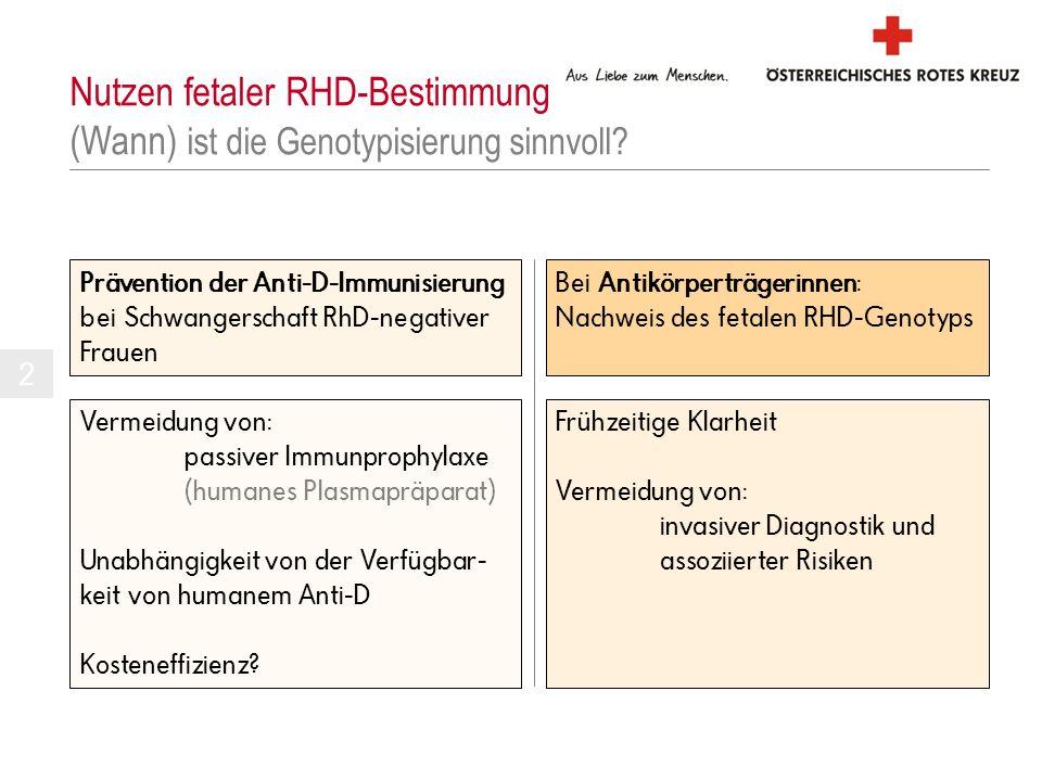 Prävention der Anti-D-Immunisierung bei Schwangerschaft RhD-negativer Frauen Nutzen fetaler RHD-Bestimmung (Wann) ist die Genotypisierung sinnvoll? Be