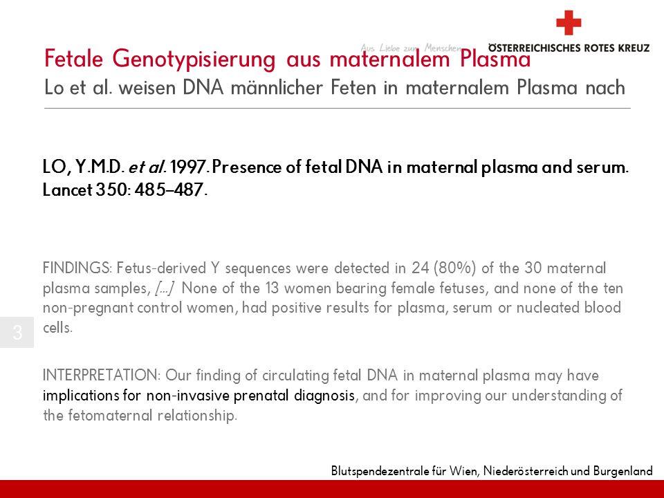 Blutspendezentrale für Wien, Niederösterreich und Burgenland LO, Y.M.D. et al. 1997. Presence of fetal DNA in maternal plasma and serum. Lancet 350: 4