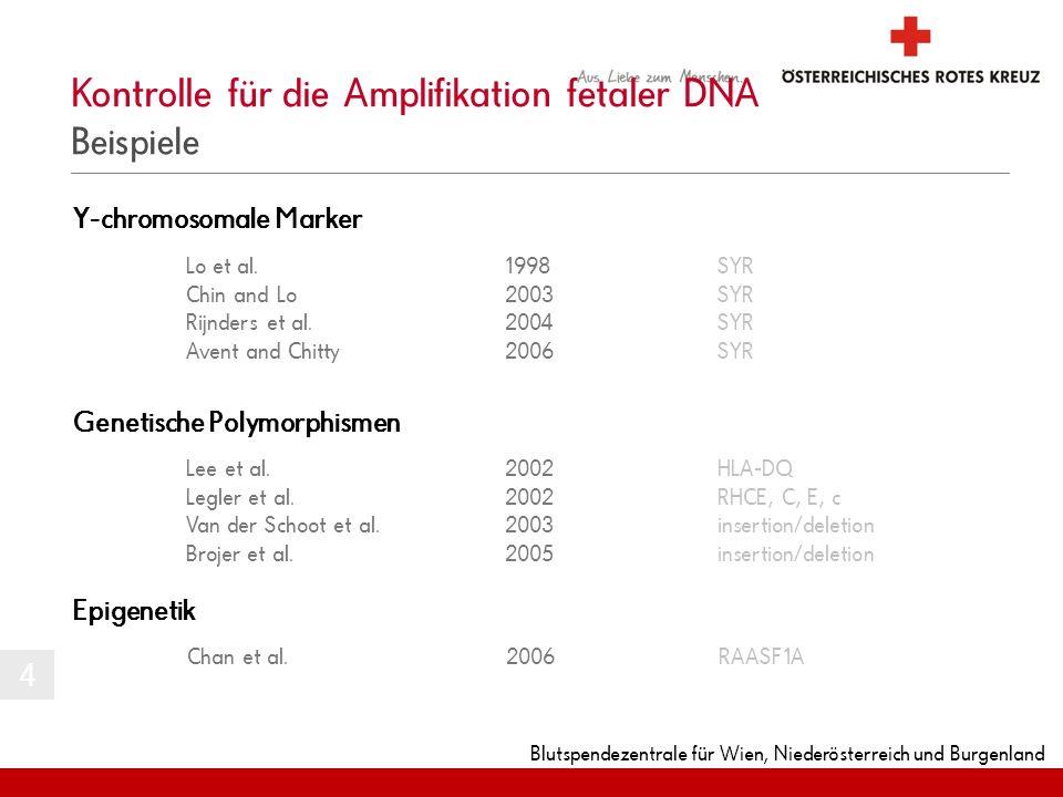 Blutspendezentrale für Wien, Niederösterreich und Burgenland Kontrolle für die Amplifikation fetaler DNA Beispiele Y-chromosomale Marker Genetische Po
