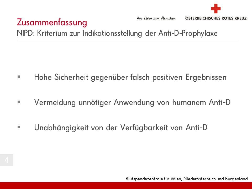 Blutspendezentrale für Wien, Niederösterreich und Burgenland Zusammenfassung NIPD: Kriterium zur Indikationsstellung der Anti-D-Prophylaxe 4 Hohe Sich